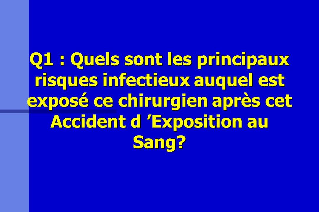 Q1 : Quels sont les principaux risques infectieux auquel est exposé ce chirurgien après cet Accident d Exposition au Sang?
