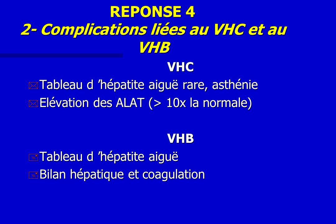 REPONSE 4 2- Complications liées au VHC et au VHB VHC * Tableau d hépatite aiguë rare, asthénie * Elévation des ALAT (> 10x la normale) VHB + Tableau