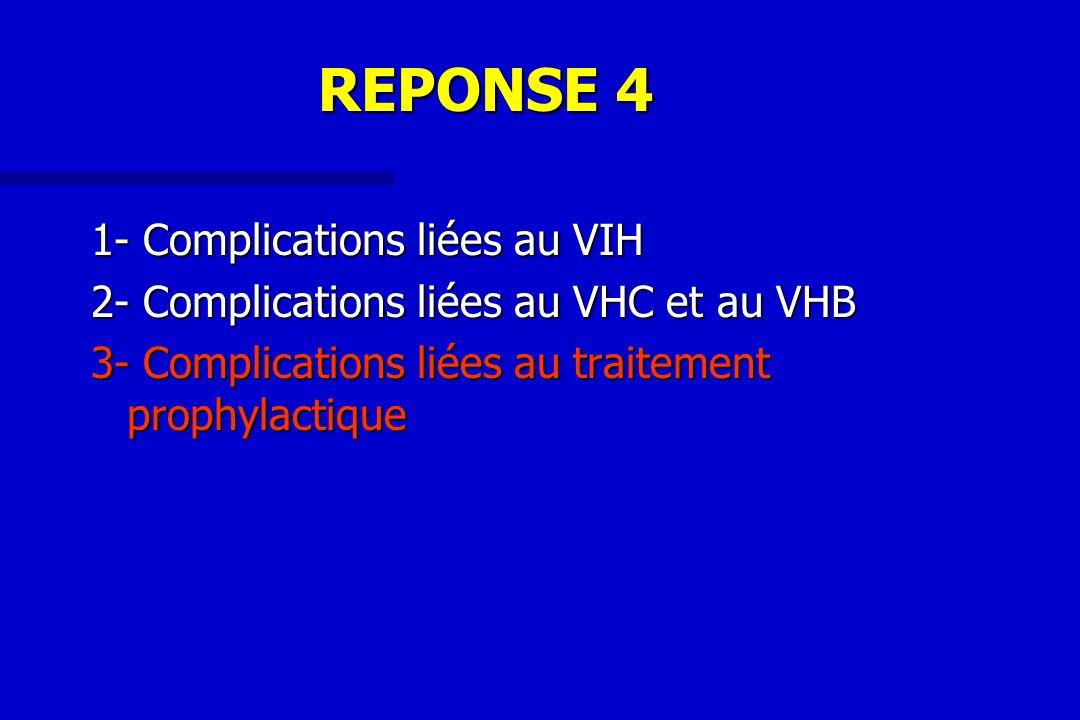 REPONSE 4 1- Complications liées au VIH 2- Complications liées au VHC et au VHB 3- Complications liées au traitement prophylactique