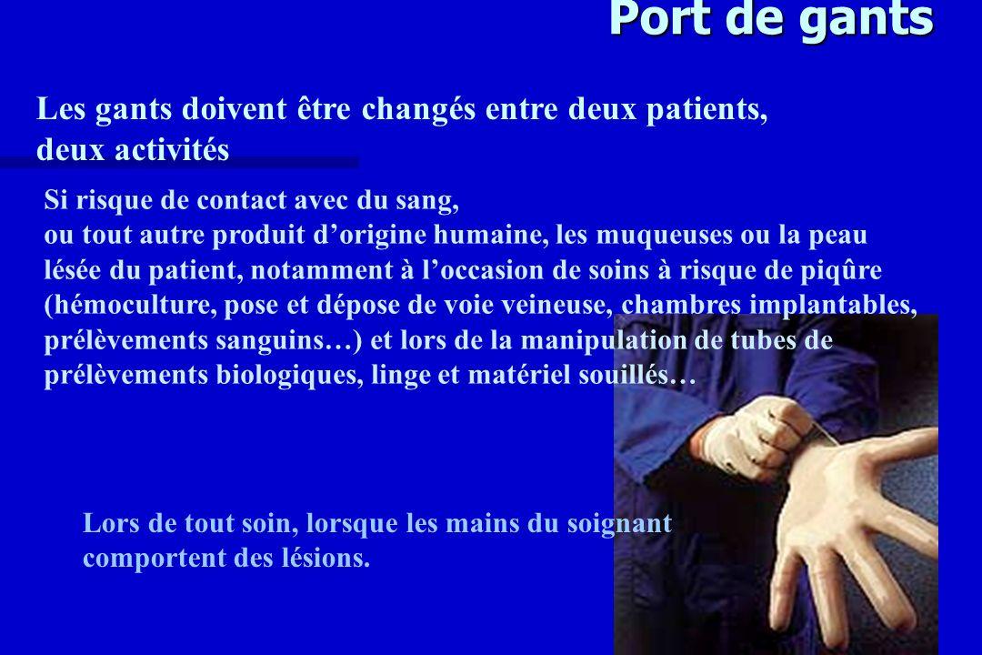 Port de gants Les gants doivent être changés entre deux patients, deux activités Lors de tout soin, lorsque les mains du soignant comportent des lésio