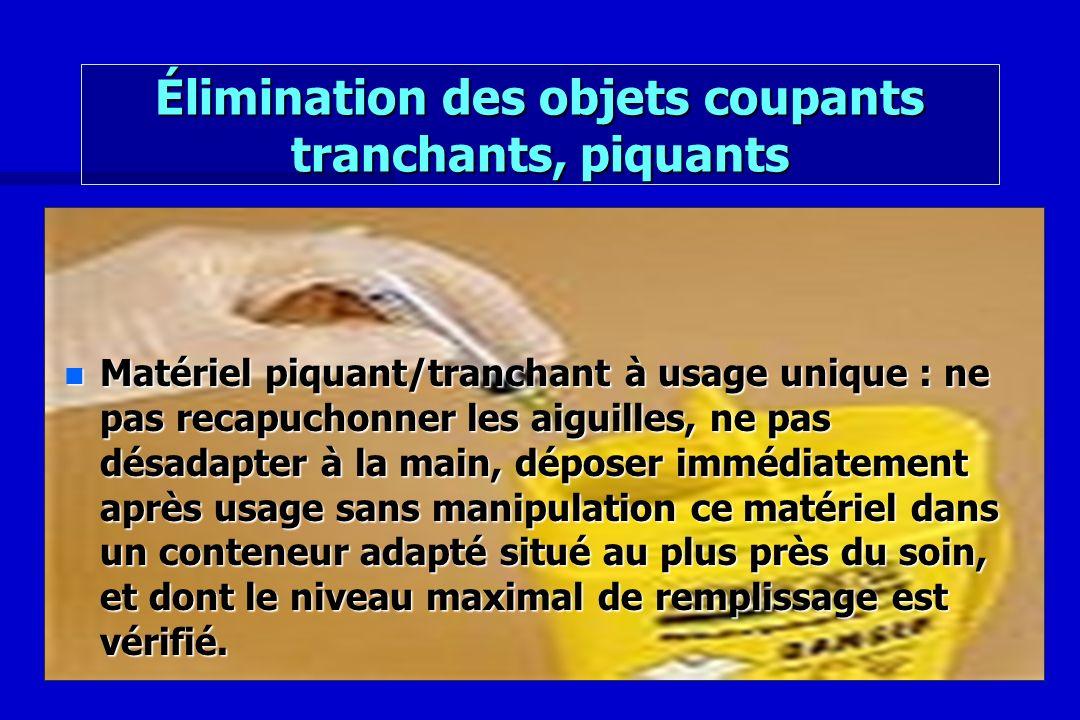 Élimination des objets coupants tranchants, piquants n Matériel piquant/tranchant à usage unique : ne pas recapuchonner les aiguilles, ne pas désadapt