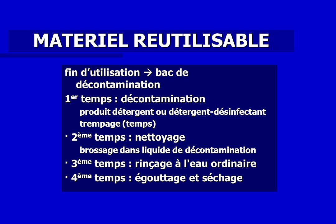 MATERIEL REUTILISABLE fin dutilisation bac de décontamination 1 er temps : décontamination produit détergent ou détergent-désinfectant trempage (temps