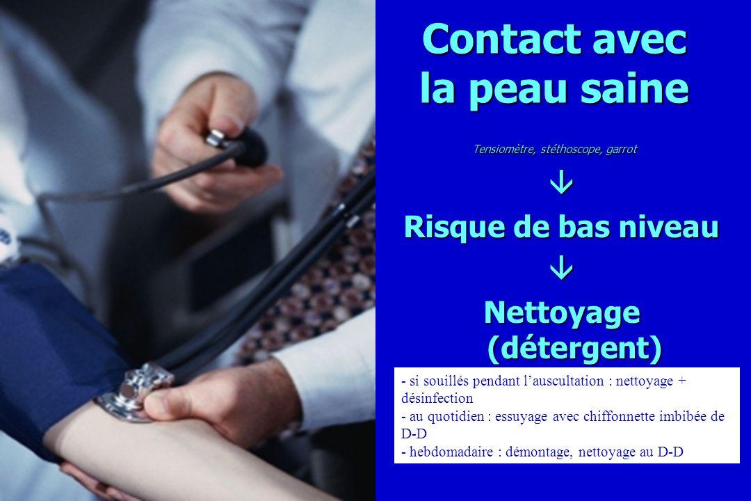Contact avec la peau saine Tensiomètre, stéthoscope, garrot Risque de bas niveau Nettoyage (détergent) - si souillés pendant lauscultation : nettoyage