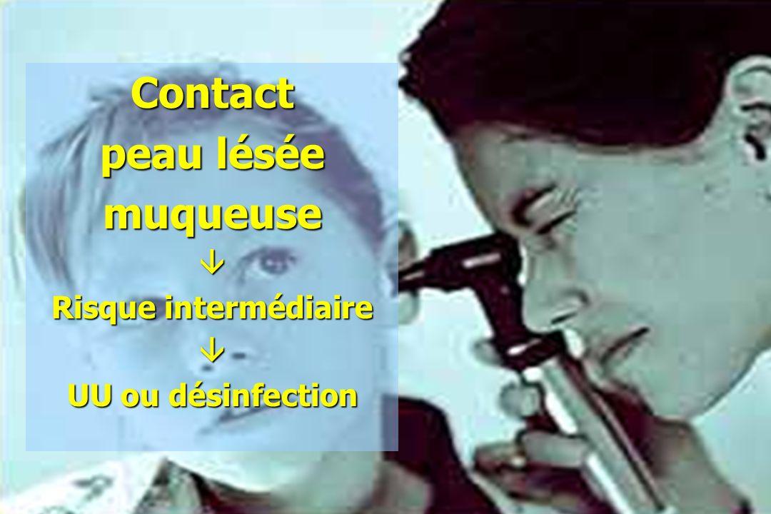 Contact peau lésée muqueuse Risque intermédiaire UU ou désinfection