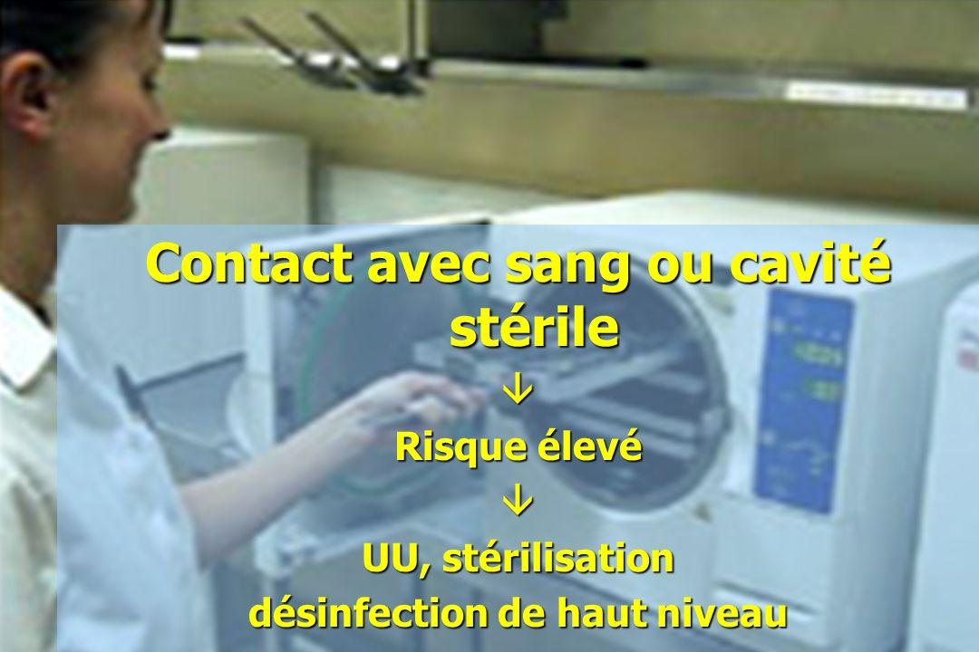 Contact avec sang ou cavité stérile Risque élevé UU, stérilisation désinfection de haut niveau