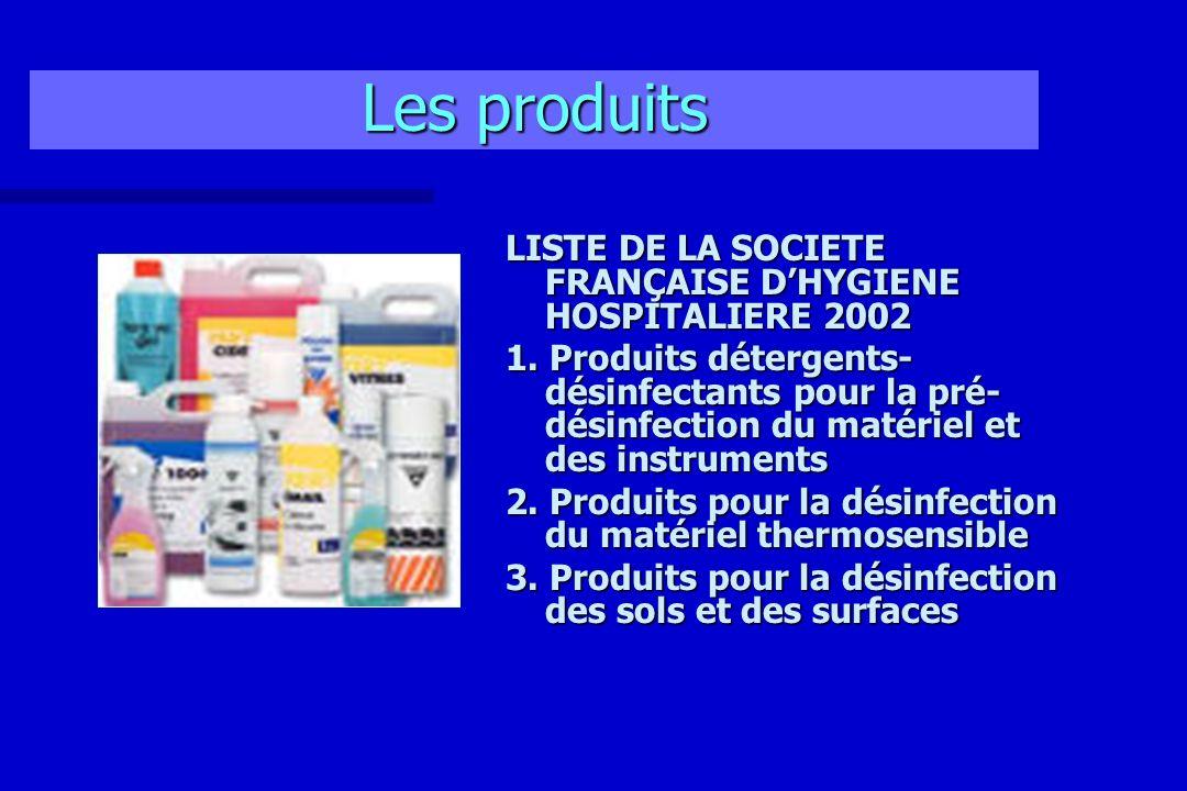 Les produits LISTE DE LA SOCIETE FRANÇAISE DHYGIENE HOSPITALIERE 2002 1. Produits détergents- désinfectants pour la pré- désinfection du matériel et d