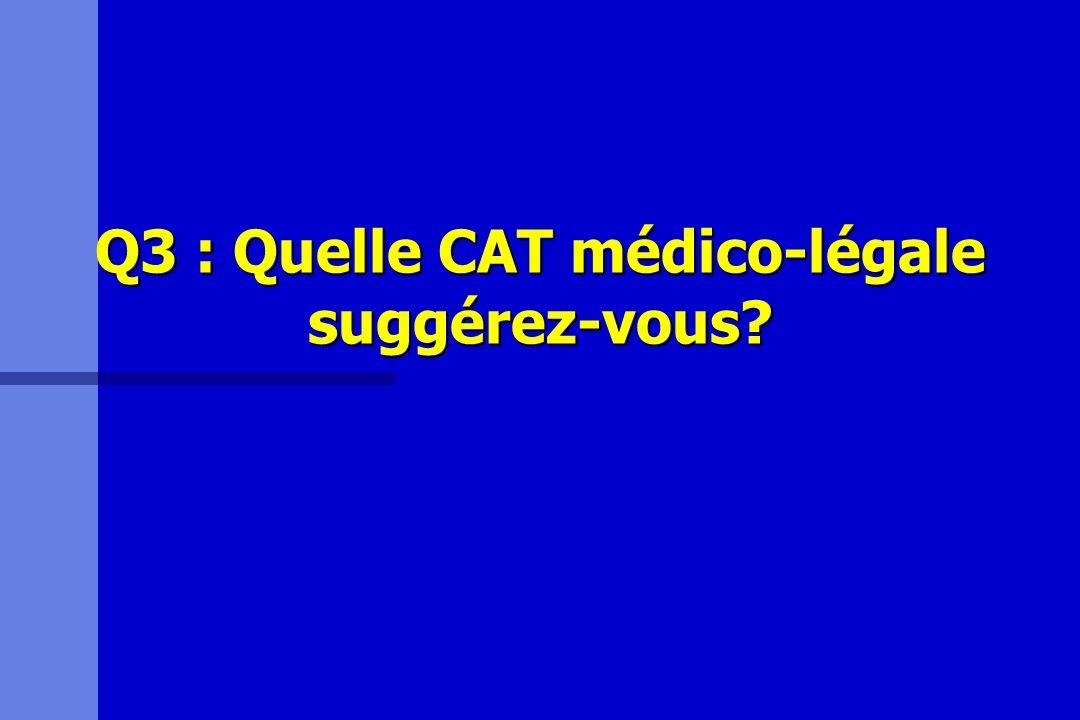 Q3 : Quelle CAT médico-légale suggérez-vous?