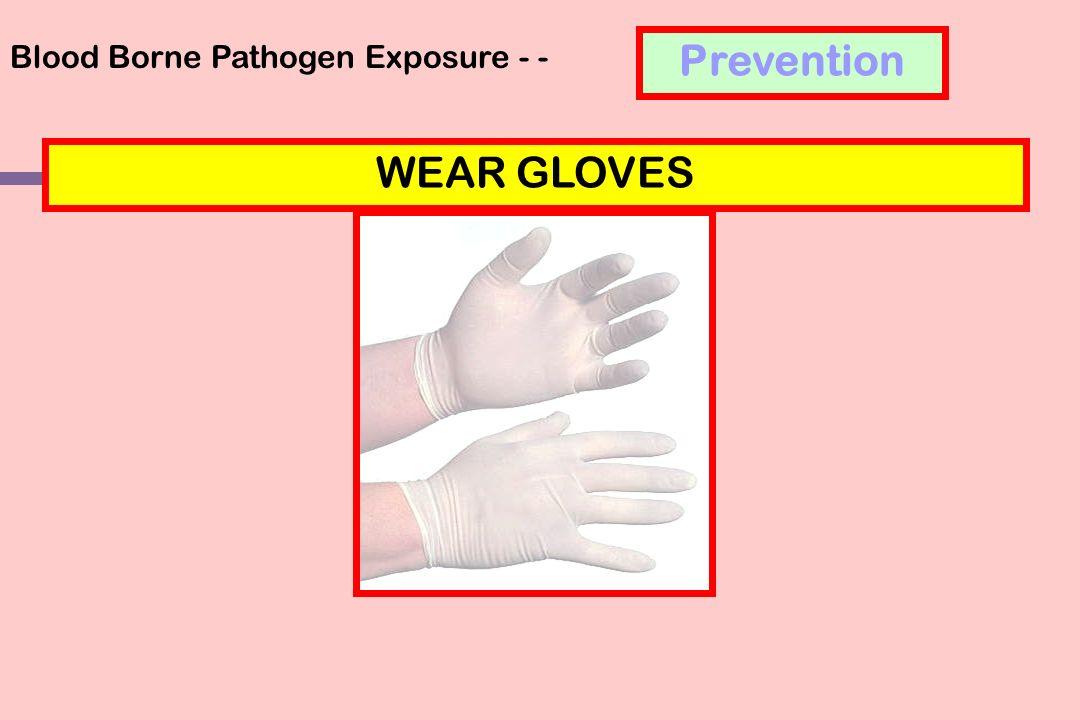 Blood Borne Pathogen Exposure - - WEAR GLOVES Prevention