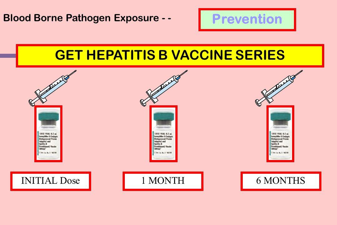 Blood Borne Pathogen Exposure - - GET HEPATITIS B VACCINE SERIES 1 MONTH6 MONTHSINITIAL Dose Prevention