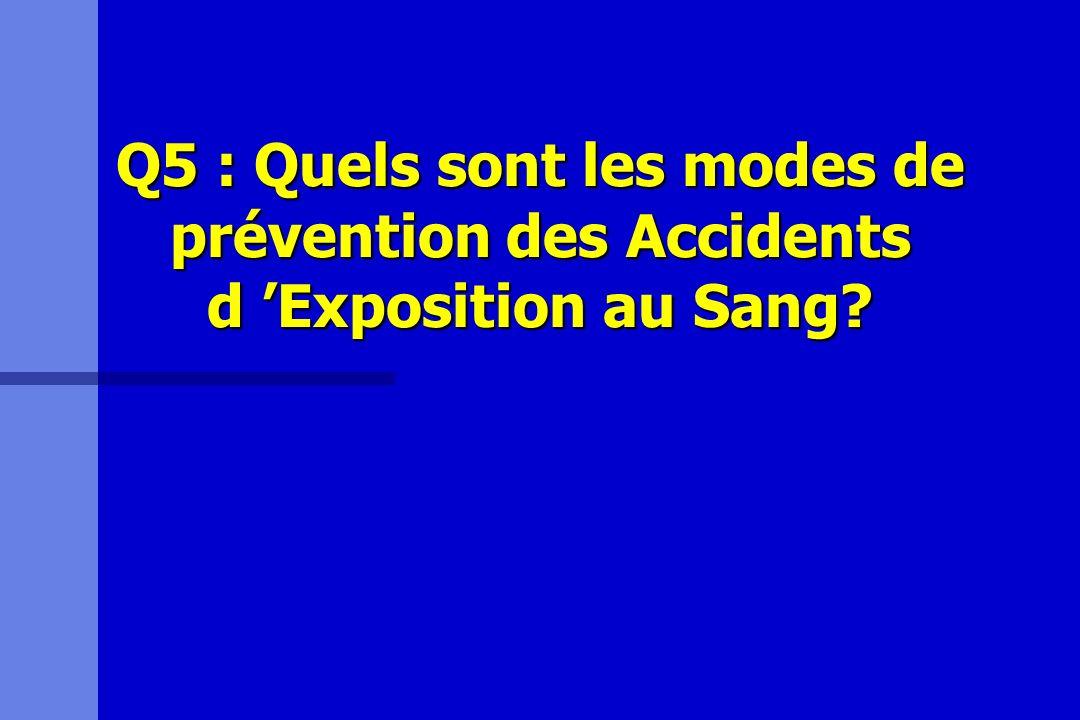 Q5 : Quels sont les modes de prévention des Accidents d Exposition au Sang?