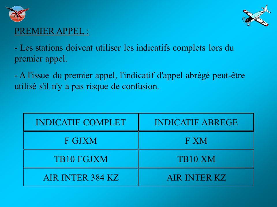 PREMIER APPEL : - Les stations doivent utiliser les indicatifs complets lors du premier appel.