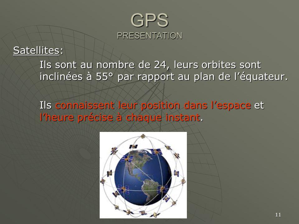 11 GPS PRESENTATION Satellites: Ils sont au nombre de 24, leurs orbites sont inclinées à 55° par rapport au plan de léquateur. Ils connaissent leur po