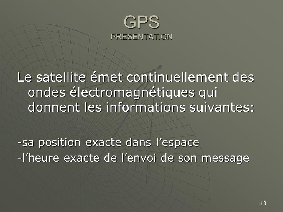 13 GPS PRESENTATION Le satellite émet continuellement des ondes électromagnétiques qui donnent les informations suivantes: -sa position exacte dans le