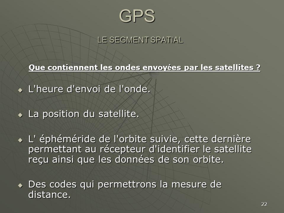 22 GPS LE SEGMENT SPATIAL GPS LE SEGMENT SPATIAL Que contiennent les ondes envoy é es par les satellites ? Que contiennent les ondes envoy é es par le