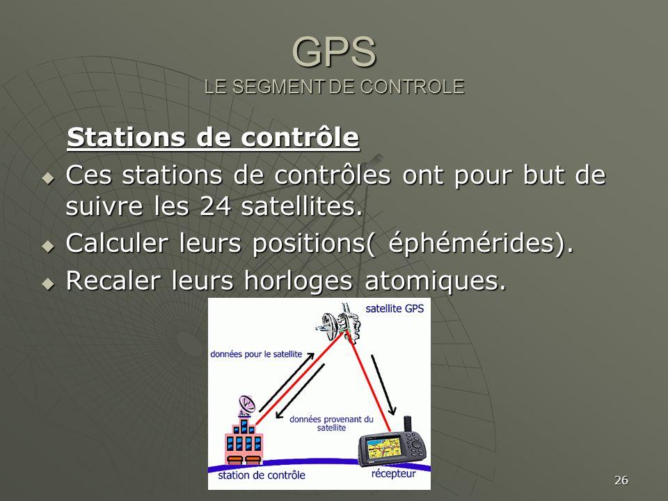 26 GPS LE SEGMENT DE CONTROLE Stations de contrôle Stations de contrôle Ces stations de contrôles ont pour but de suivre les 24 satellites. Ces statio