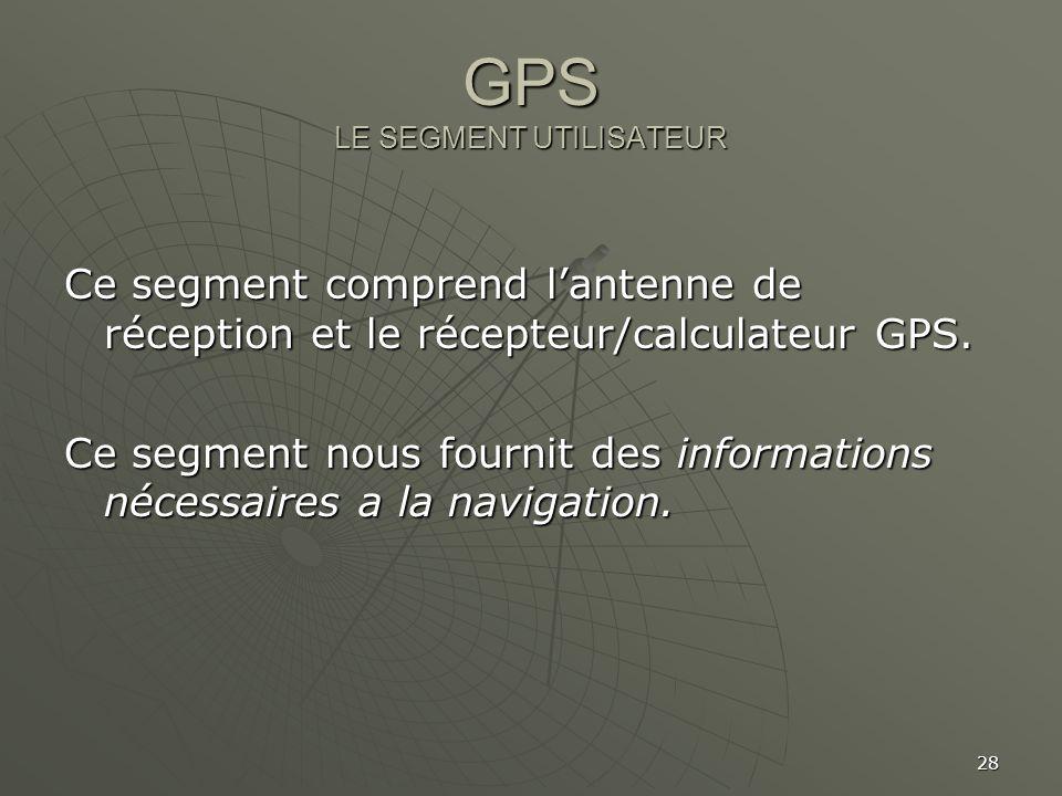28 GPS LE SEGMENT UTILISATEUR Ce segment comprend lantenne de réception et le récepteur/calculateur GPS. Ce segment nous fournit des informations néce