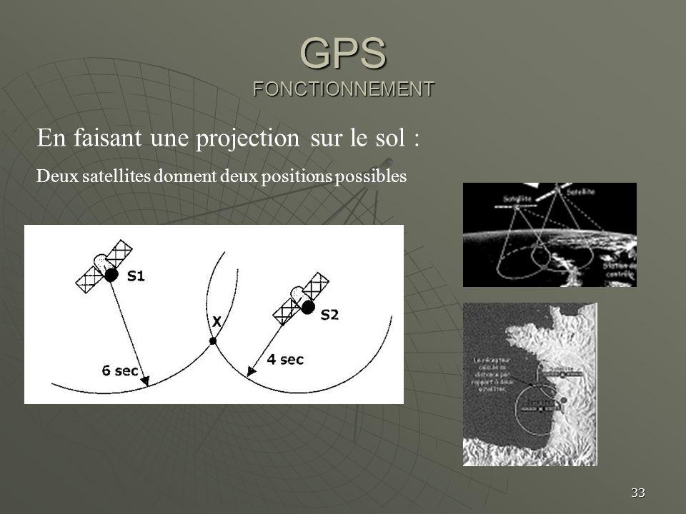 33 GPS FONCTIONNEMENT En faisant une projection sur le sol : Deux satellites donnent deux positions possibles