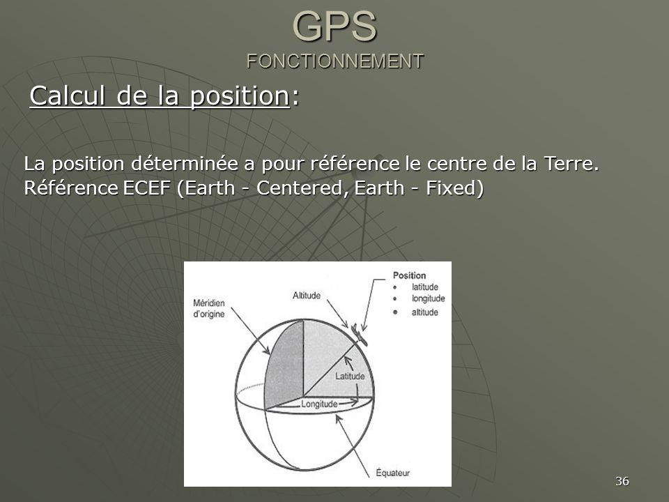 36 GPS FONCTIONNEMENT Calcul de la position: La position déterminée a pour référence le centre de la Terre. Référence ECEF (Earth - Centered, Earth -