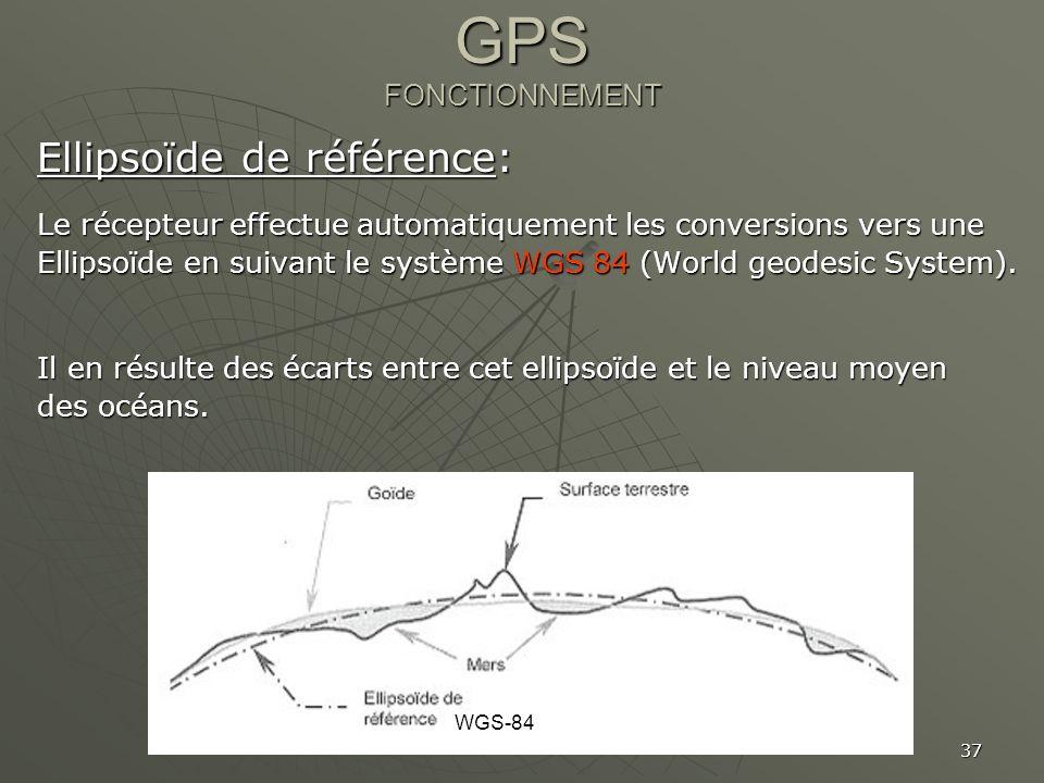 37 GPS FONCTIONNEMENT Ellipsoïde de référence: Le récepteur effectue automatiquement les conversions vers une Ellipsoïde en suivant le système WGS 84