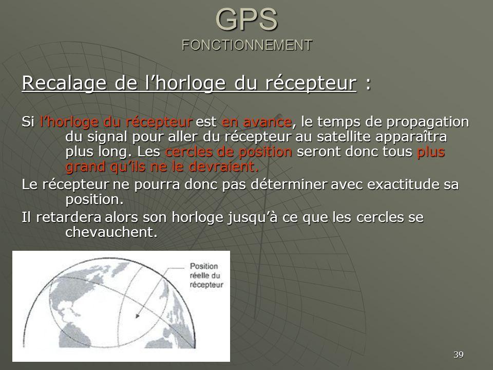39 GPS FONCTIONNEMENT Recalage de lhorloge du récepteur : Si lhorloge du récepteur est en avance, le temps de propagation du signal pour aller du réce