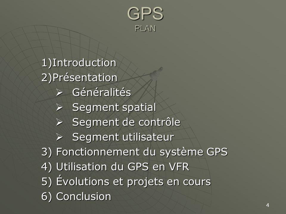 4 GPS PLAN 1)Introduction2)Présentation Généralités Généralités Segment spatial Segment spatial Segment de contrôle Segment de contrôle Segment utilis