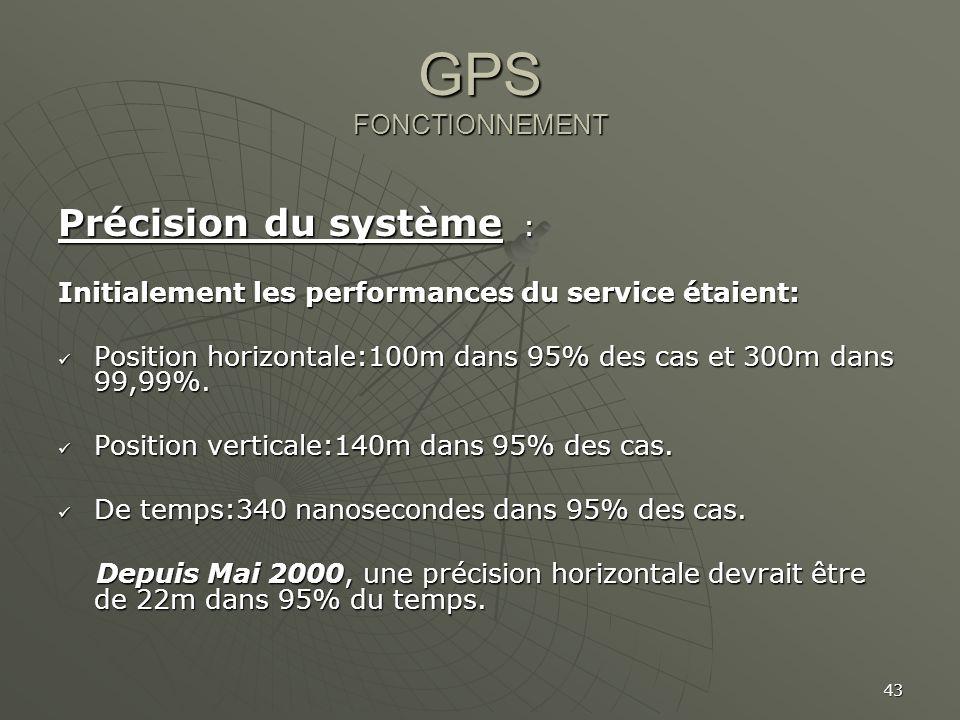 43 GPS FONCTIONNEMENT Précision du système : Initialement les performances du service étaient: Position horizontale:100m dans 95% des cas et 300m dans
