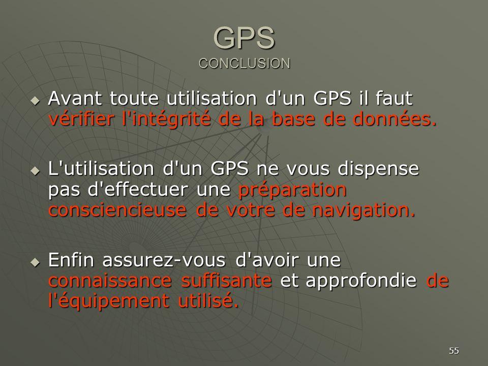 55 GPS CONCLUSION Avant toute utilisation d'un GPS il faut vérifier l'intégrité de la base de données. Avant toute utilisation d'un GPS il faut vérifi