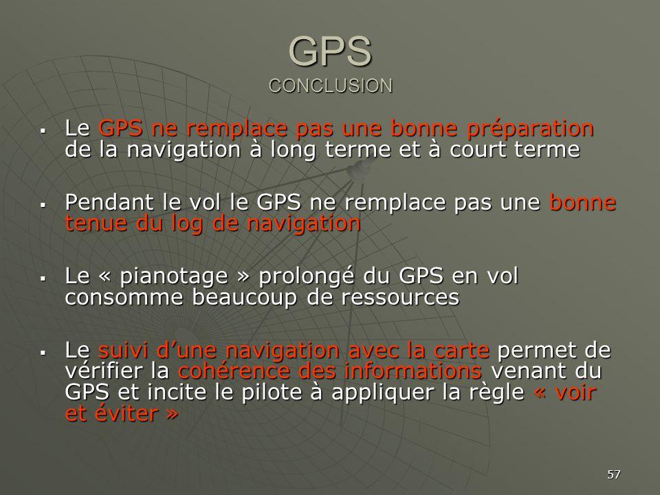 57 GPS CONCLUSION Le GPS ne remplace pas une bonne préparation de la navigation à long terme et à court terme Le GPS ne remplace pas une bonne prépara