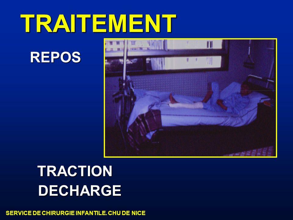 SERVICE DE CHIRURGIE INFANTILE. CHU DE NICE TRAITEMENT REPOS TRACTION DECHARGE