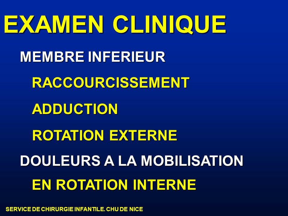 SERVICE DE CHIRURGIE INFANTILE. CHU DE NICE EXAMEN CLINIQUE MEMBRE INFERIEUR RACCOURCISSEMENT ADDUCTION ROTATION EXTERNE DOULEURS A LA MOBILISATION EN