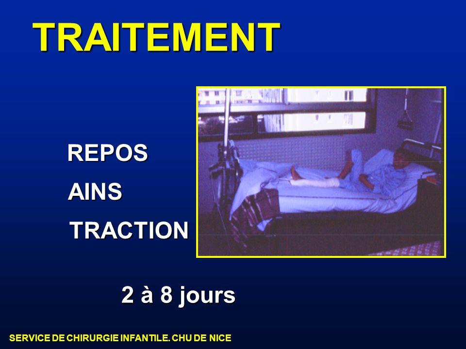 SERVICE DE CHIRURGIE INFANTILE. CHU DE NICE TRAITEMENT REPOS AINS TRACTION 2 à 8 jours