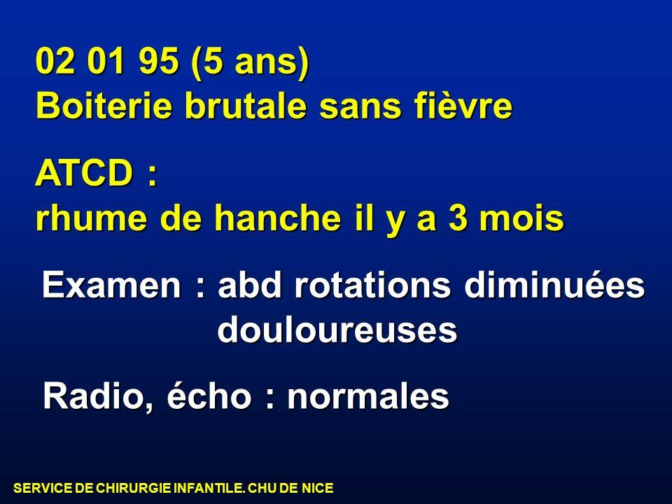 SERVICE DE CHIRURGIE INFANTILE. CHU DE NICE 02 01 95 (5 ans) Boiterie brutale sans fièvre Examen : abd rotations diminuées douloureuses douloureuses A