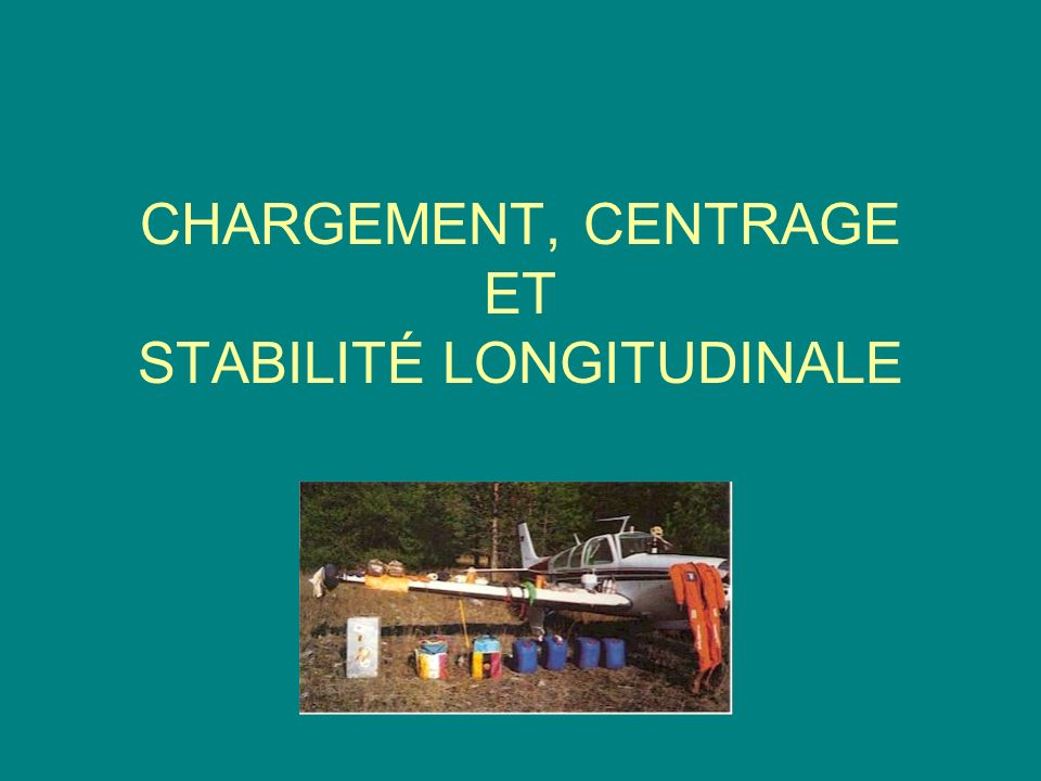 CHARGEMENT, CENTRAGE ET STABILITE LONGITUDINALE OBJECTIFS : Faire constater au cours de la progression linfluence du chargement et du centrage sur le comportement de lavion.