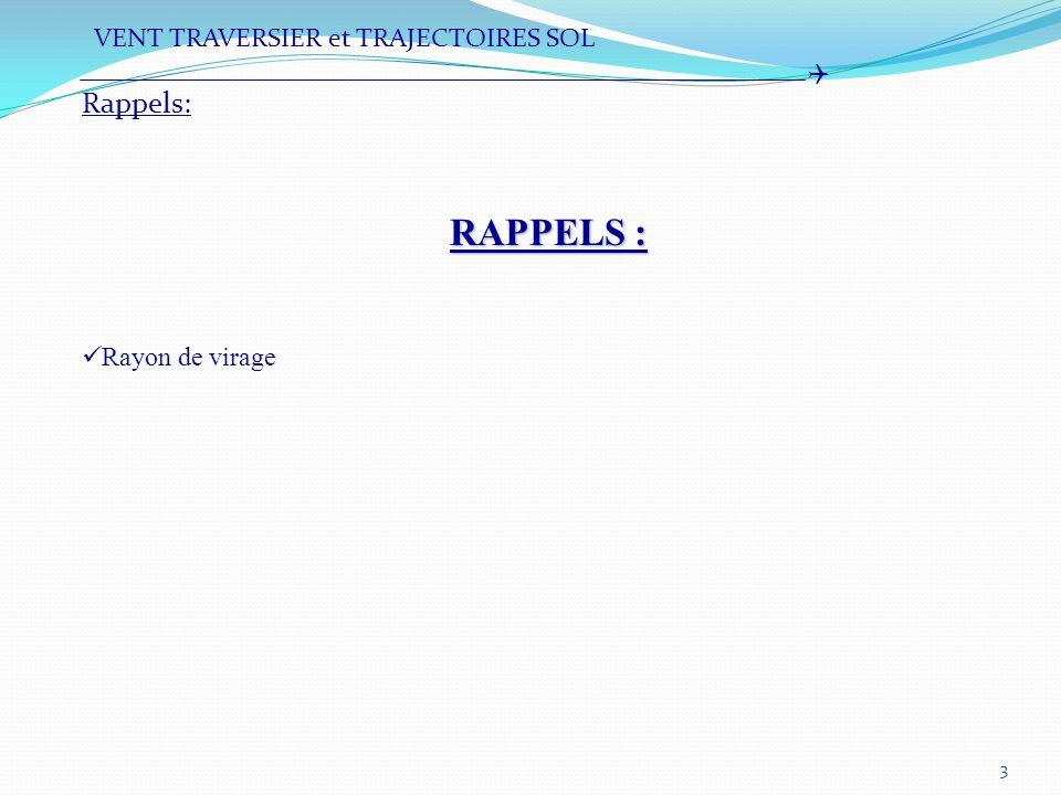 4 NOTIONS : Dérive Anticipation de la trajectoire sol Rappels: VENT TRAVERSIER et TRAJECTOIRES SOL