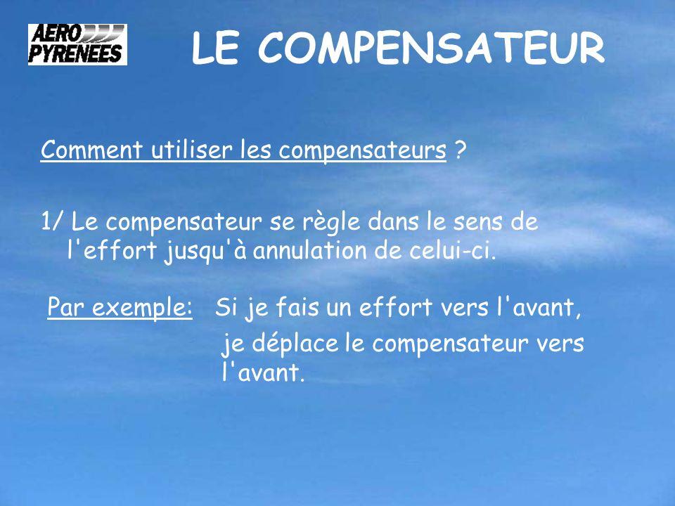 LE COMPENSATEUR Comment utiliser les compensateurs ? 1/ Le compensateur se règle dans le sens de l'effort jusqu'à annulation de celui-ci. Par exemple: