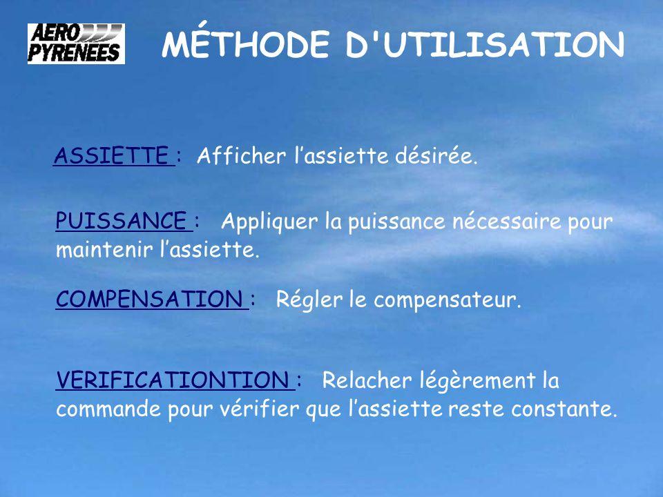 MÉTHODE D'UTILISATION ASSIETTE : Afficher lassiette désirée. PUISSANCE : Appliquer la puissance nécessaire pour maintenir lassiette. COMPENSATION : Ré