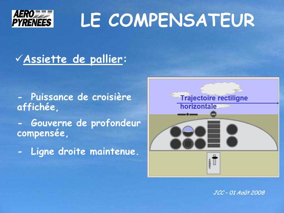 LE COMPENSATEUR JCC – 01 Août 2008 Assiette de pallier: - Puissance de croisière affichée, - Gouverne de profondeur compensée, - Ligne droite maintenu