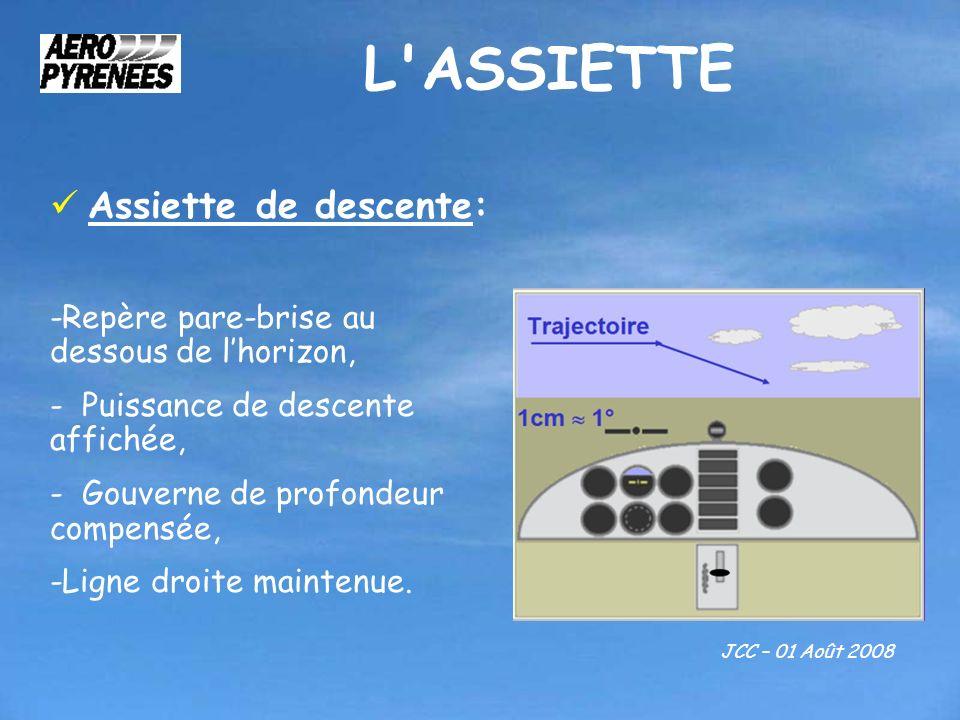 L'ASSIETTE JCC – 01 Août 2008 Assiette de descente: -Repère pare-brise au dessous de lhorizon, - Puissance de descente affichée, - Gouverne de profond
