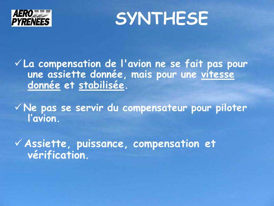 SYNTHESE La compensation de l'avion ne se fait pas pour une assiette donnée, mais pour une vitesse donnée et stabilisée. Ne pas se servir du compensat