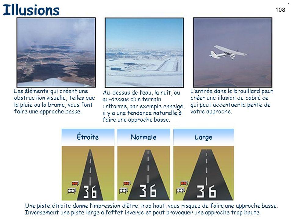 108 Les éléments qui créent une obstruction visuelle, telles que la pluie ou la brume, vous font faire une approche basse. Au-dessus de leau, la nuit,