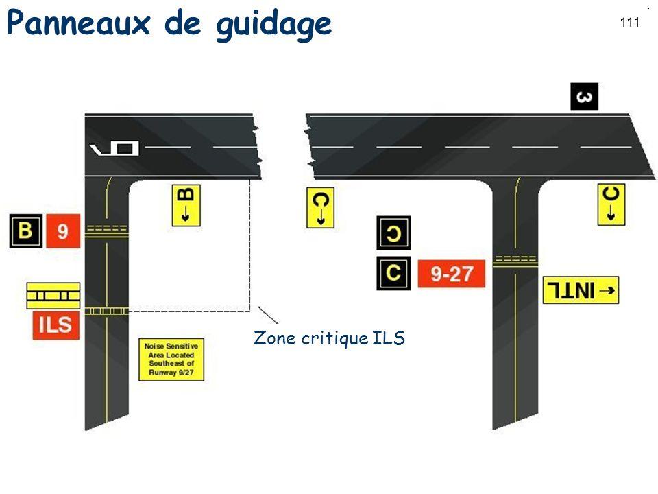 111 Panneaux de guidage Zone critique ILS