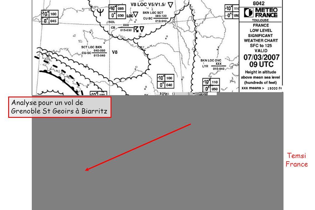 Dossier météo Temsi France Analyse pour un vol de Grenoble St Geoirs à Biarritz 15000 ft