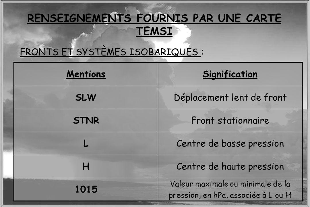 Dossier météo FRONTS ET SYSTÈMES ISOBARIQUES : RENSEIGNEMENTS FOURNIS PAR UNE CARTE TEMSI MentionsSignification SLWDéplacement lent de front STNRFront