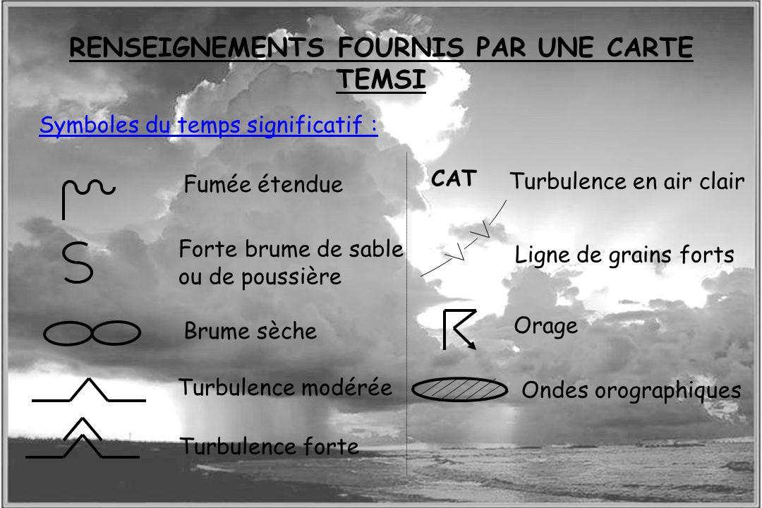 Dossier météo Symboles du temps significatif : Fumée étendue Forte brume de sable ou de poussière Brume sèche Turbulence modérée Turbulence forte CAT