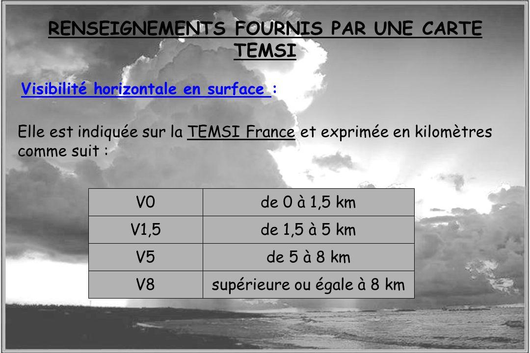 Dossier météo Visibilité horizontale en surface : Elle est indiquée sur la TEMSI France et exprimée en kilomètres comme suit : V0 V1,5 V5 V8 de 0 à 1,