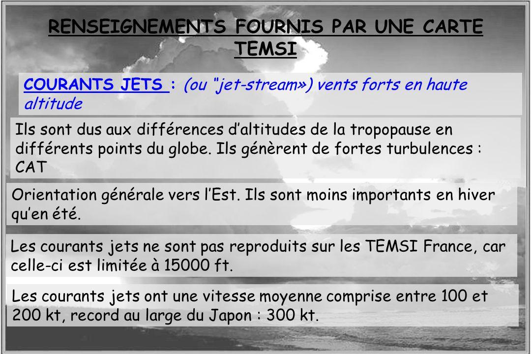 Dossier météo COURANTS JETS : (ou jet-stream») vents forts en haute altitude Ils sont dus aux différences daltitudes de la tropopause en différents po