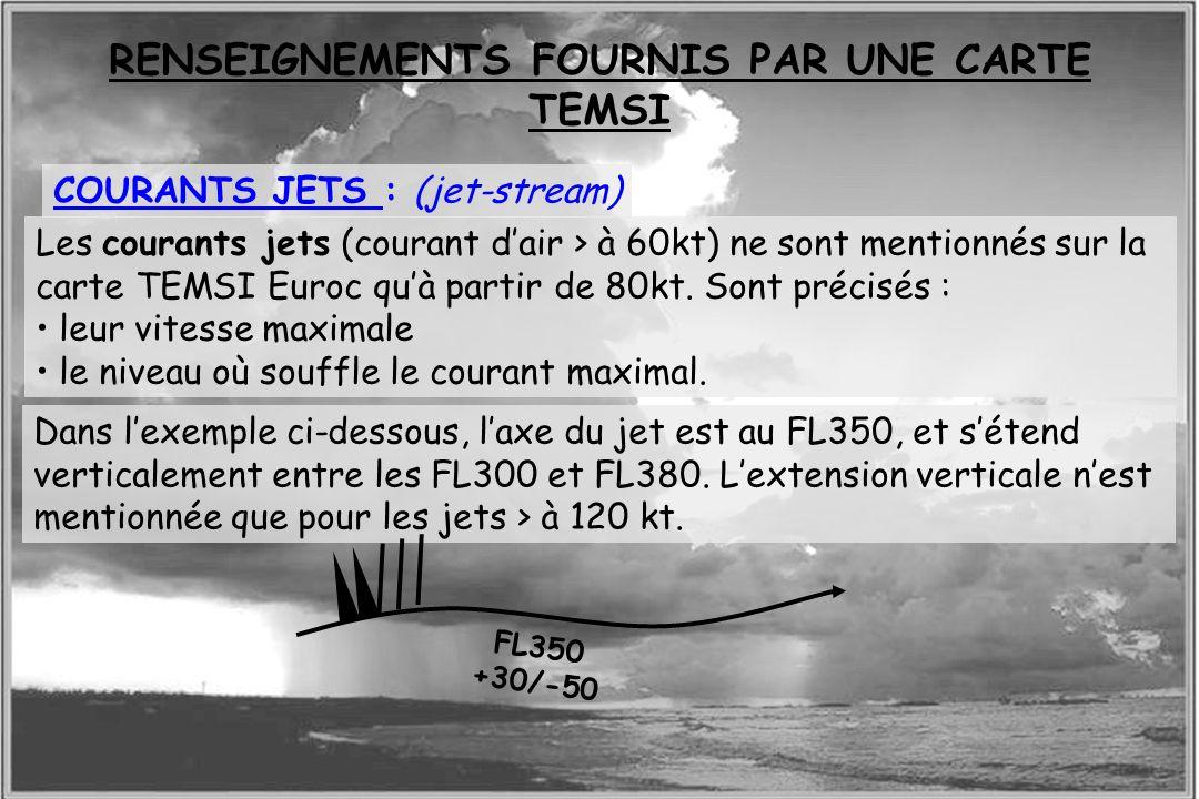 Dossier météo COURANTS JETS : (jet-stream) Les courants jets (courant dair > à 60kt) ne sont mentionnés sur la carte TEMSI Euroc quà partir de 80kt. S