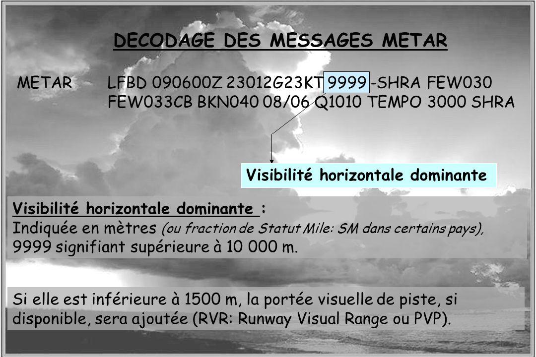 Dossier météo DECODAGE DES MESSAGES METAR Visibilité horizontale dominante METARLFBD 090600Z 23012G23KT 9999 -SHRA FEW030 FEW033CB BKN040 08/06 Q1010