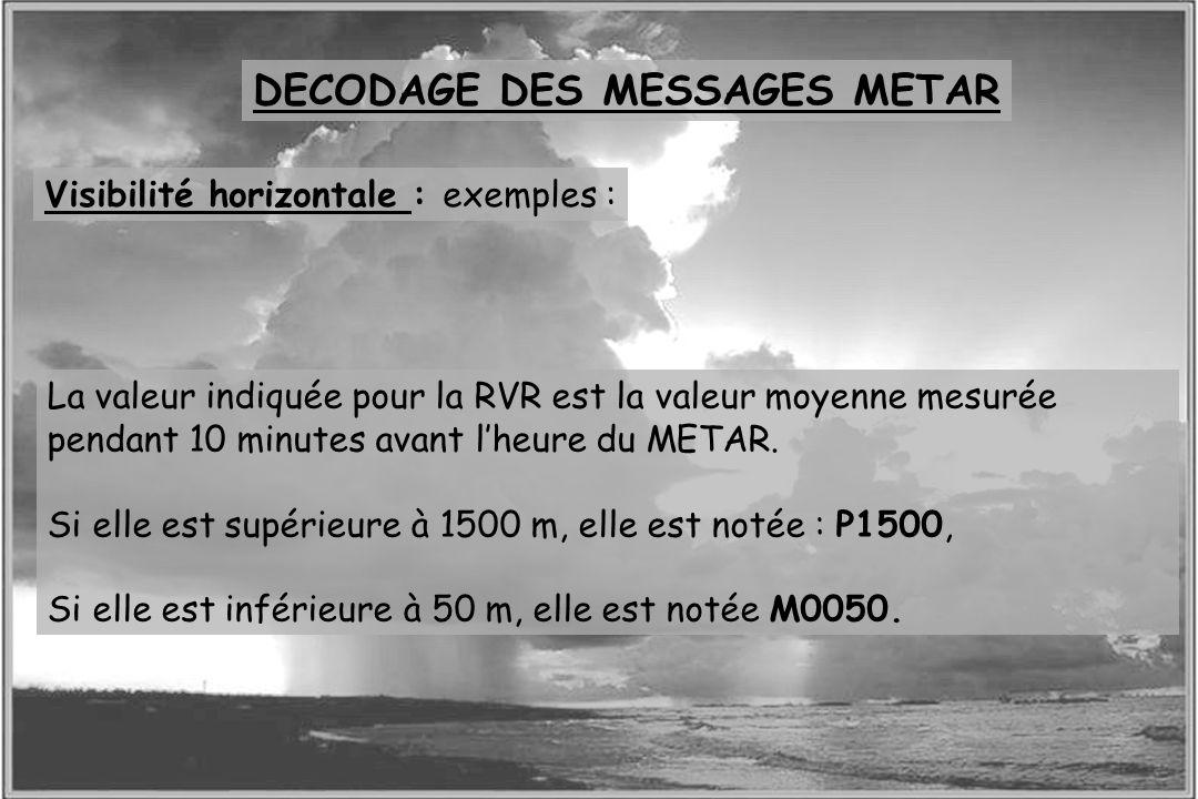 Dossier météo Visibilité horizontale : exemples : La valeur indiquée pour la RVR est la valeur moyenne mesurée pendant 10 minutes avant lheure du META