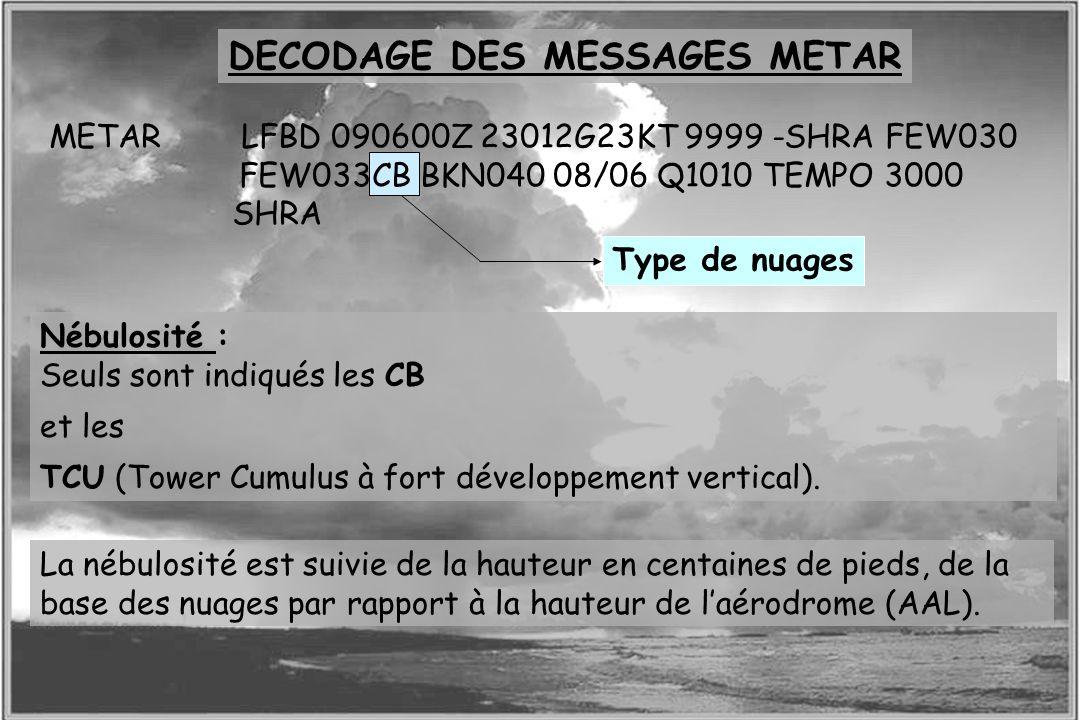 Dossier météo Type de nuages DECODAGE DES MESSAGES METAR METAR LFBD 090600Z 23012G23KT 9999 -SHRA FEW030 FEW033CB BKN040 08/06 Q1010 TEMPO 3000 SHRA N